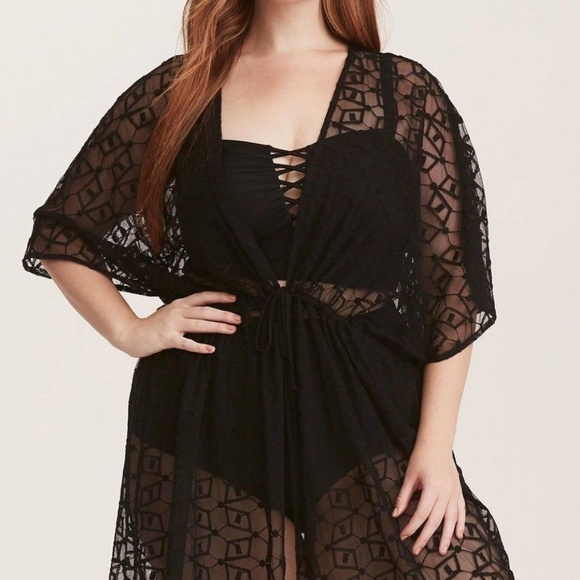 6d81a7d3ebbd6 TORRID 2X Swim Cover Up Black Tunic Top Dress Plus